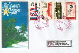 Lettre De SAIPAN Capitale Des Iles Mariannes Du Nord (Océan Pacifique) Adressée En Floride - Northern Mariana Islands