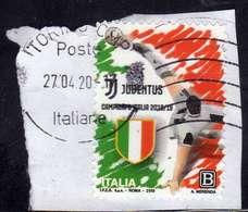 ITALIA REPUBBLICA ITALY REPUBLIC 2019 LO SCUDETTO ALLA JUVENTUS CAMPIONE CAMPIONATO DI CALCIO2018 B USATO USED OBLITERE' - 6. 1946-.. Repubblica