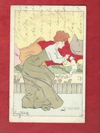 CPA   -  Le Toucher   - Illustrateurs , Illustrateur  Lucien Robert  -  ( Femme , Chat   ) - Robert