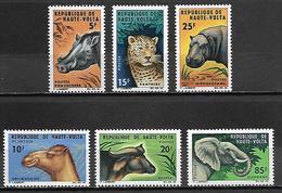 HAUTE VOLTA  -  1966 . Y&T N°148 à 153  **.  Série Complète.  Panthère, Hippopotame, éléphant, Phacochère .... - Alto Volta (1958-1984)
