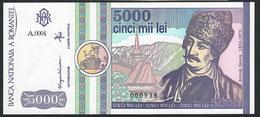ROMANIA P103 5000 LEI 1992   LOW SERIAL # 000938      UNC. - Romania