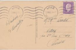 N° 689 Seul Sur CP Moins De 5 Mots Lille 23/08/1945 - France