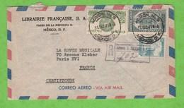 LETTRE PAR AVION RECOMMANDEE DU MEXIQUE POUR PARIS VIGNETTE CORREOS MEXICO CORRESPONDANCIA ..AIGLE ..AU DOS - Mexiko