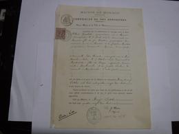 MONACO  -- FRANCIA  ---    MAIRIE DE MONACO  -- CERTIFICAT DE NON OPPOSITION - France