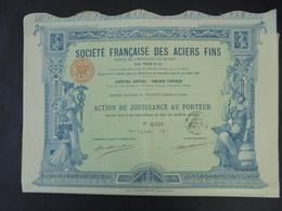 """IMPRIMERIE """" RICHARD """" STE FRANCAISE DES ACIERS FINS - ACTION DE JOUISSANCE - PARIS 1897 - SIEGE : CHATOU - BELLE DECO - Unclassified"""