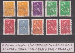 France Marianne De Lamouche (2005) N° 3731 + 3731A + 3732 + 3733 + 3733A + 3734 + 3737 + 3739 + 3744 + 3744A Oblitérés - 2004-08 Marianne De Lamouche