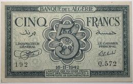 Algérie - 5 Francs - 1942 - PICK 91 - SUP+ - Algerije