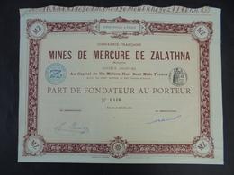 """IMPRIMERIE """" RICHARD """" HONGRIE - MINES DE MERCURE DE ZALATHNA - PART DE FONDATEUR - PARIS 1891 - Actions & Titres"""