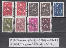 France Marianne De Lamouche (2005) Y/T N° 3744 + 3744A + 3754/58 (dont 3754A) Oblitérés (lot 2) - 2004-08 Marianne De Lamouche