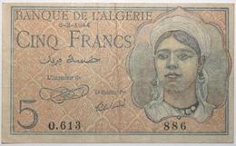 Algérie - 5 Francs - 1944 - PICK 94a - TTB - Algerije