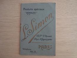 DOCUMENT PUBLICITAIRE L. SIMON PRODUITS SPECIAUX 62 FG SAINT HONORE PARIS - Advertising