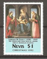 NEVIS - 1992 LORENZO DI CREDI Madonna Con S. GIULIANO E S. NICOLA (Louvre, Paris) Nuovo** MNH - Religion