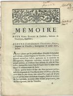 89- VINCELLES- MEMOIRE 1785- 22 PAGES- POUR EDME HADERY DE VINCELOTTES CONTRE EDME-GERMAIN VILLETARD DE VINCELLES - Documents Historiques