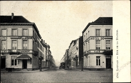 Cp Louvain Leuven Flämisch Brabant, Rue De La Station, Cafe, Hotel, Bahnhofstraße - België
