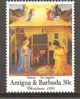 ANTIGUA & BARBUDA - 1991 Natale BEATO ANGELICO Natività (Armadio Degli Argenti, Firenze) Nuovo** MNH - Religion