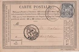 Carte Précurseur 1878 / Cachet De Vuillafans 25 Doubs / Exp Chevroton Notaire à Vuillafans Pour Delavelle Besançon - Mapas