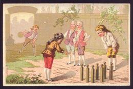 Cartão Publicidade LOJA MODAS - Rua Aurea 269 LISBOA Portugal. Old Victorian Trade Card CHROMO Jeu De Quilles 1880s - Cromo