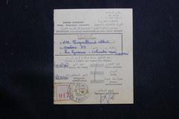 MAROC - Récépissé De Kasba Tadla Pour La France D'un Envoi Recommandé Ou En Valeurs Déclarées En 1957 - L 61327 - Marokko (1956-...)