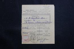 MAROC - Récépissé De Kasba Tadla Pour La France D'un Envoi Recommandé Ou En Valeurs Déclarées En 1957 - L 61329 - Marokko (1956-...)