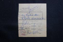 MAROC - Récépissé De Kasba Tadla Pour La France D'un Envoi Recommandé Ou En Valeurs Déclarées En 1957 - L 61330 - Marokko (1956-...)