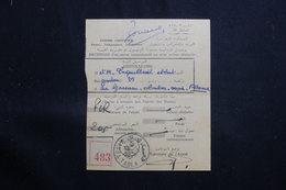 MAROC - Récépissé De Kasba Tadla Pour La France D'un Envoi Recommandé Ou En Valeurs Déclarées En 1957 - L 61331 - Marokko (1956-...)