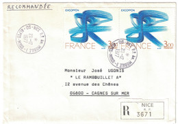 """1977 - CAD """" NICE RP ANNEXE MOBILE 1 """" Sur LETTRE RECOMMANDÉE Pour CAGNES (ALPES MARITIMES) TIMBRES EXCOFFON En PAIRE - 1961-...."""