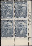Canada 1934 MNH Sc #208 3c Jacques Cartier Plate 2 LR Block Of 4 - Números De Planchas & Inscripciones