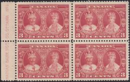 Canada 1935 MH Sc #213 3c King George V, Queen Mary Plate 1 Block Of 4 - Números De Planchas & Inscripciones
