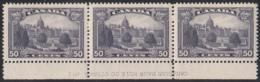 Canada 1935 Mint Sc #226 50c Parliament, Victoria BC Plate 1 Block Of 3 - Números De Planchas & Inscripciones