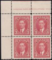 Canada 1937 MH Sc #233 3c George VI Mufti Plate 10 UL Block Of 4 - Números De Planchas & Inscripciones