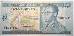 Congo (RD) - 10 Makuta - 1970 - PICK 9a.3 - SUP+ - Congo