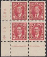 Canada 1937 MH Sc #233 3c George VI Mufti Plate 10 LL Block Of 4 - Números De Planchas & Inscripciones