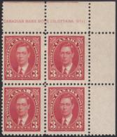 Canada 1937 MH Sc #233 3c George VI Mufti Plate 11 UR Block Of 4 - Números De Planchas & Inscripciones