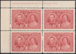 Canada 1937 MNH Sc #237 3c George VI Coronation Plate 2 UL Block Of 4 - Números De Planchas & Inscripciones