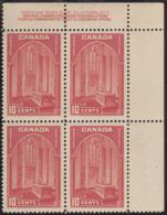Canada 1938 MNH Sc #241 10c Memorial Chamber Plate 1 UR Block Of 4 - Números De Planchas & Inscripciones