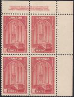 Canada 1938 MNH Sc #241 10c Memorial Chamber Plate 2 UR Block Of 4 - Números De Planchas & Inscripciones
