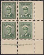 Canada 1942 MNH Sc #249 1c George VI War Plate 24 LR Block Of 4 - Números De Planchas & Inscripciones