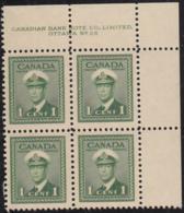 Canada 1942 MNH Sc #249 1c George VI War Plate 26 UR Block Of 4 - Números De Planchas & Inscripciones