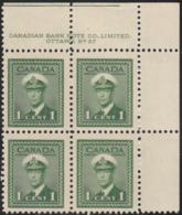 Canada 1942 MNH Sc #249 1c George VI War Plate 27 UR Block Of 4 - Números De Planchas & Inscripciones