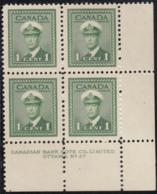 Canada 1942 MNH Sc #249 1c George VI War Plate 27 LR Block Of 4 - Números De Planchas & Inscripciones
