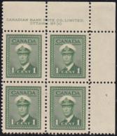 Canada 1942 MNH Sc #249 1c George VI War Plate 30 UR Block Of 4 - Números De Planchas & Inscripciones