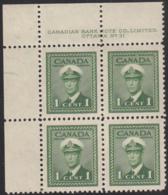 Canada 1942 MNH Sc #249 1c George VI War Plate 31 UL Block Of 4 - Números De Planchas & Inscripciones