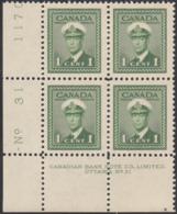 Canada 1942 MNH Sc #249 1c George VI War Plate 31 LL Block Of 4 - Números De Planchas & Inscripciones