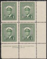 Canada 1942 MNH Sc #249 1c George VI War Plate 31 LR Block Of 4 - Números De Planchas & Inscripciones