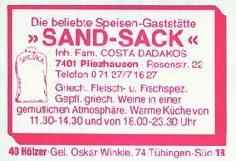"""1 Altes Gasthausetikett, Speise-Gaststätte """"Sand Sack"""", Inh. Fam. Costa Dadakos, 7401 Pliezhausen, Rosenstr. 22 #804 - Matchbox Labels"""