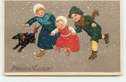 N°15235 - Carte Gaufrée - Flatscher - Prosit Neujahr - Enfants Et Teckel - New Year