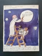Dessin Original. Jean Eiffel. La Création De La Lune. - Estampas & Grabados