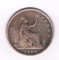 ONE PENNY  1861  GROOT BRITANNIE /4059// - 1816-1901: 19. Jh.