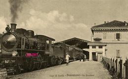 Lombardia,  Logo Di Garda, Desenzano, Stazione,  Photo Of Old Postcard, 2 Scans - Luoghi