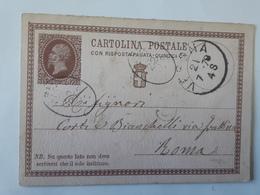 Ancien Entier Postal Avec Cachet Verona Envoyé Vers Roma - Cachets Divers ... Lot110 . - 1861-78 Vittorio Emanuele II